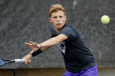 Photo Courtesy of FURMAN ATHLETICS Sophomore Drew Singerman returns a ball as the Paladins defeated UNCG 6-1 to extend their winning steak to eight matches.